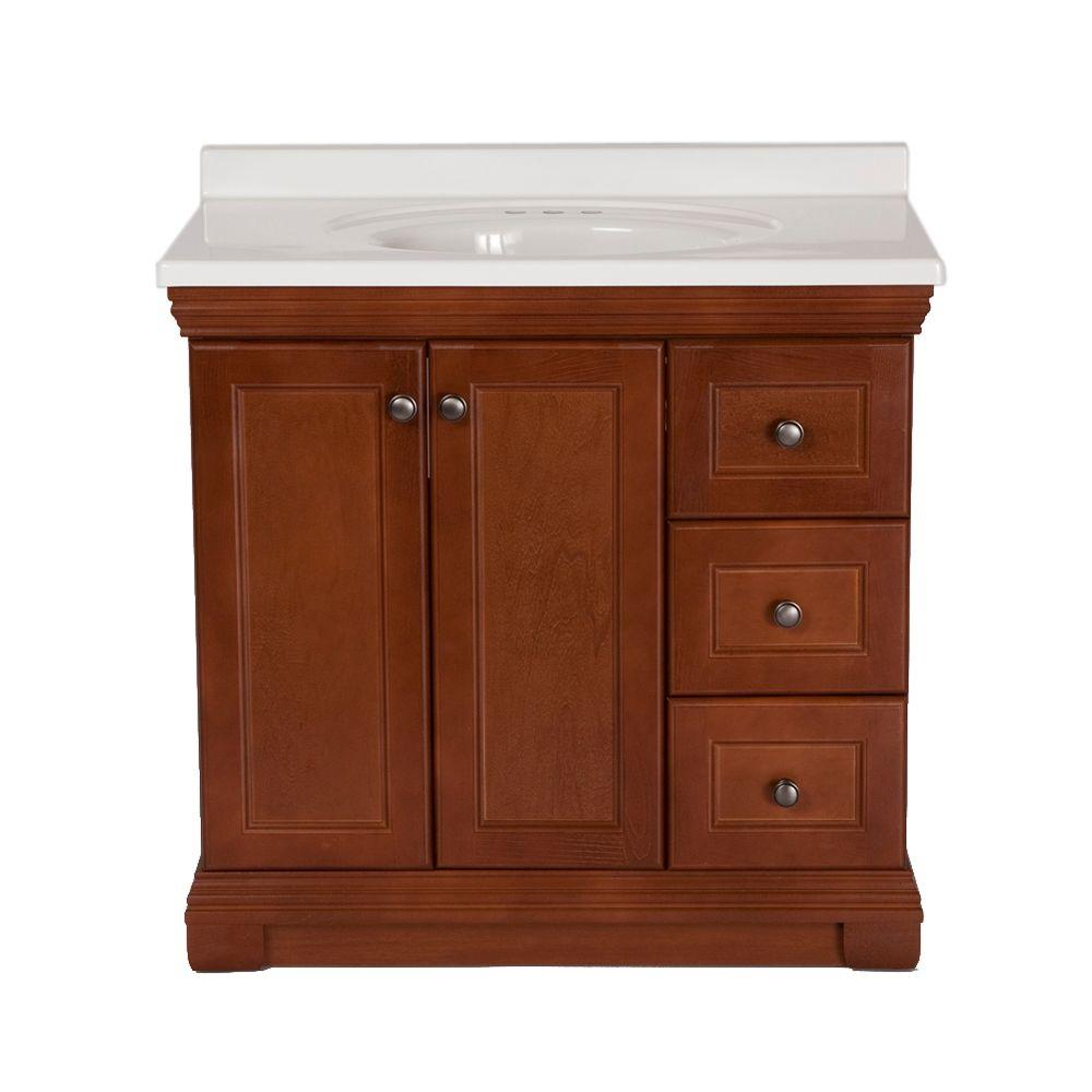 St. Paul Brentwood 36 in. Vanity in Amber with 37 in. Cultured Marble Vanity Top in White