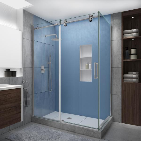 Langham XL 56-60 in. x 30 in. x 80 in. Sliding Frameless Shower Enclosure StarCast Clear Glass in Polished Chrome Right
