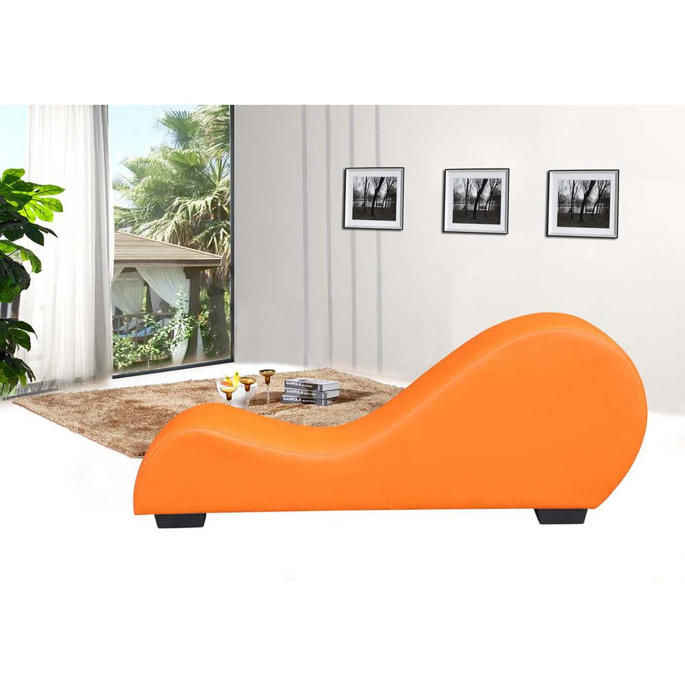 Orange faux leather chaise lounge cl 08 the home depot for Chaise longue orange