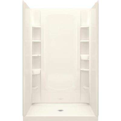 34 in. x 48 in. x 72-1/2 in. 4-Piece Shower Stall with Age-in-Place Backers in Biscuit
