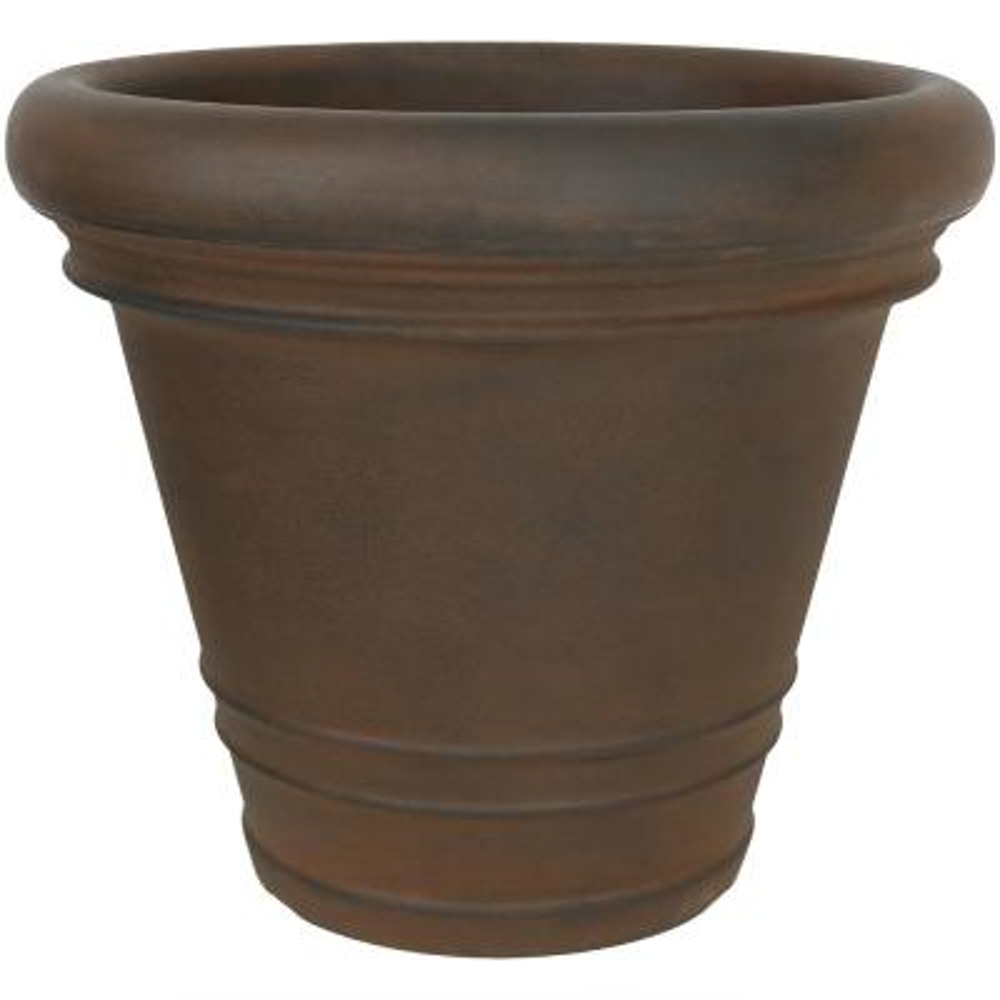 16 in. Rust Crozier Poly Single Flower Pot Planter