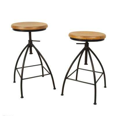 Advik 21.5 in. to 28.5 in. Natrual Adjustable Stool (Set of 2)