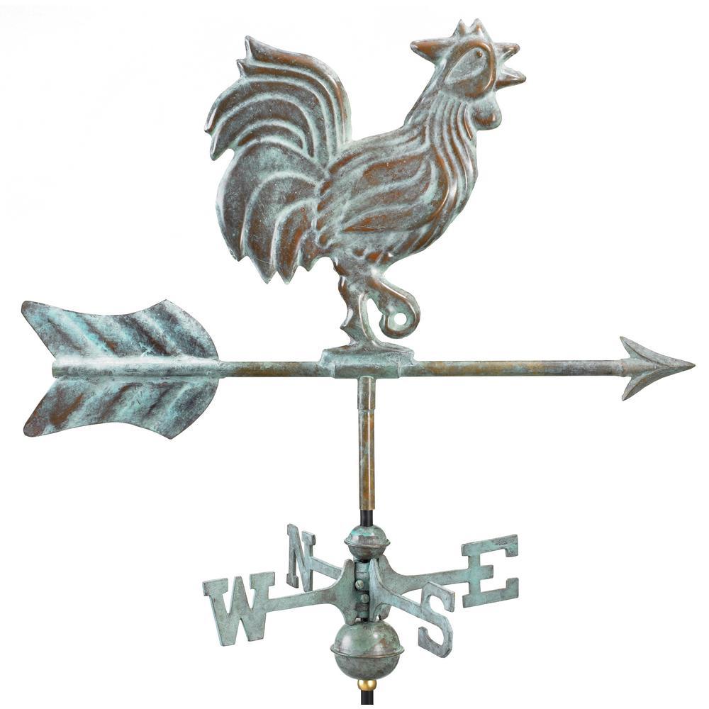 Rooster Garden Weathervane - Blue Verde Copper with Garden Pole