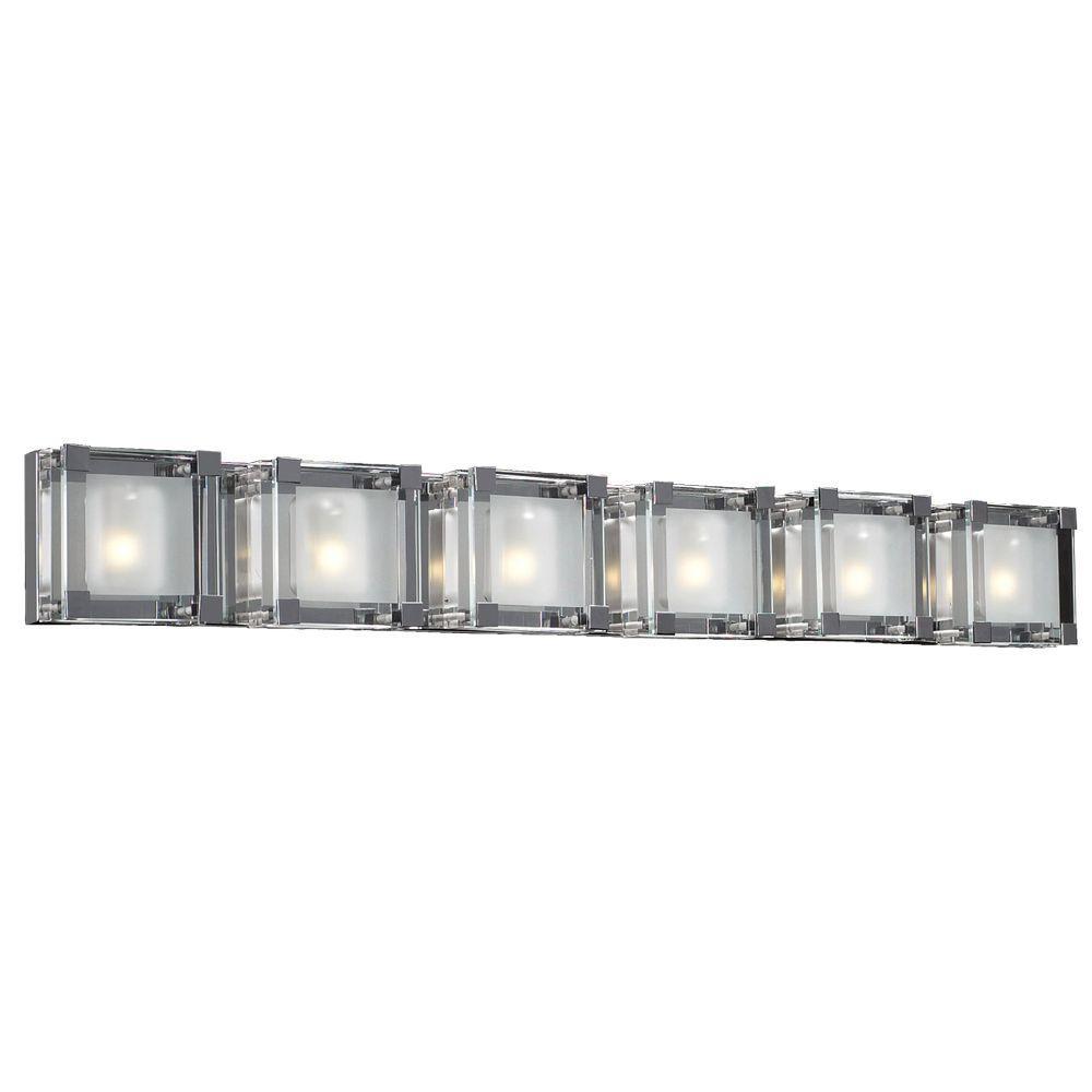PLC Lighting 6-Light Polished Chrome Bath Vanity Light with Clear Glass