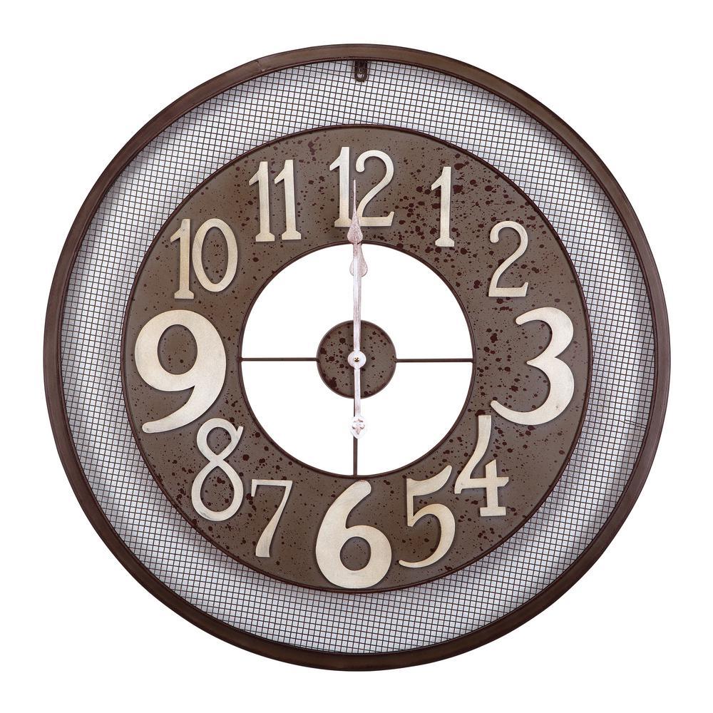 Yosemite Home Decor 31.5 in. x 31.5 in. Circular Iron Wall Clock in Dark Gray Frame