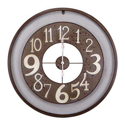 31.5 in. x 31.5 in. Circular Iron Wall Clock in Dark Gray Frame