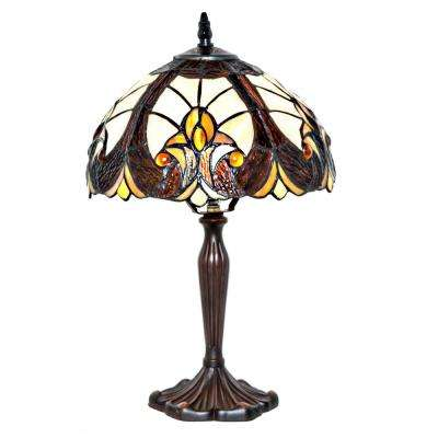 16 in. Multi-Colored Indoor Table Lamp with Stained Glass Halston Shade