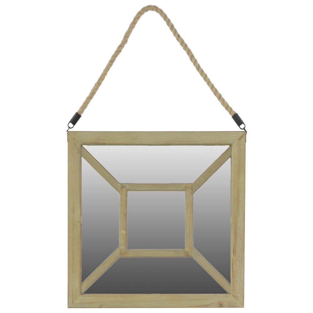 Square Brown Natural Wood Mirror