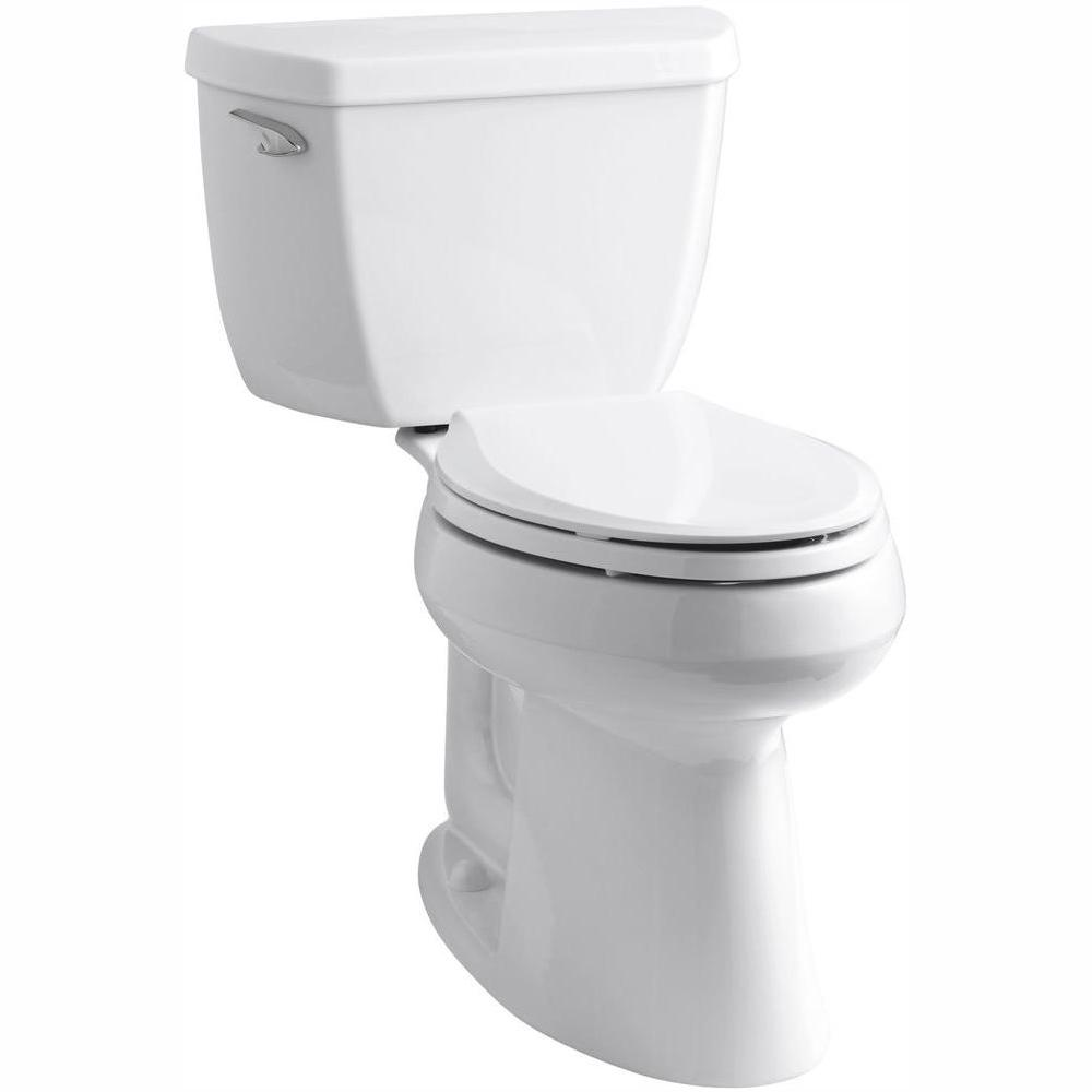 KOHLER Highline Classic Comfort Height 10 in. Rough-In 2-Piece 1.28 GPF Single Flush Elongated Toilet in White