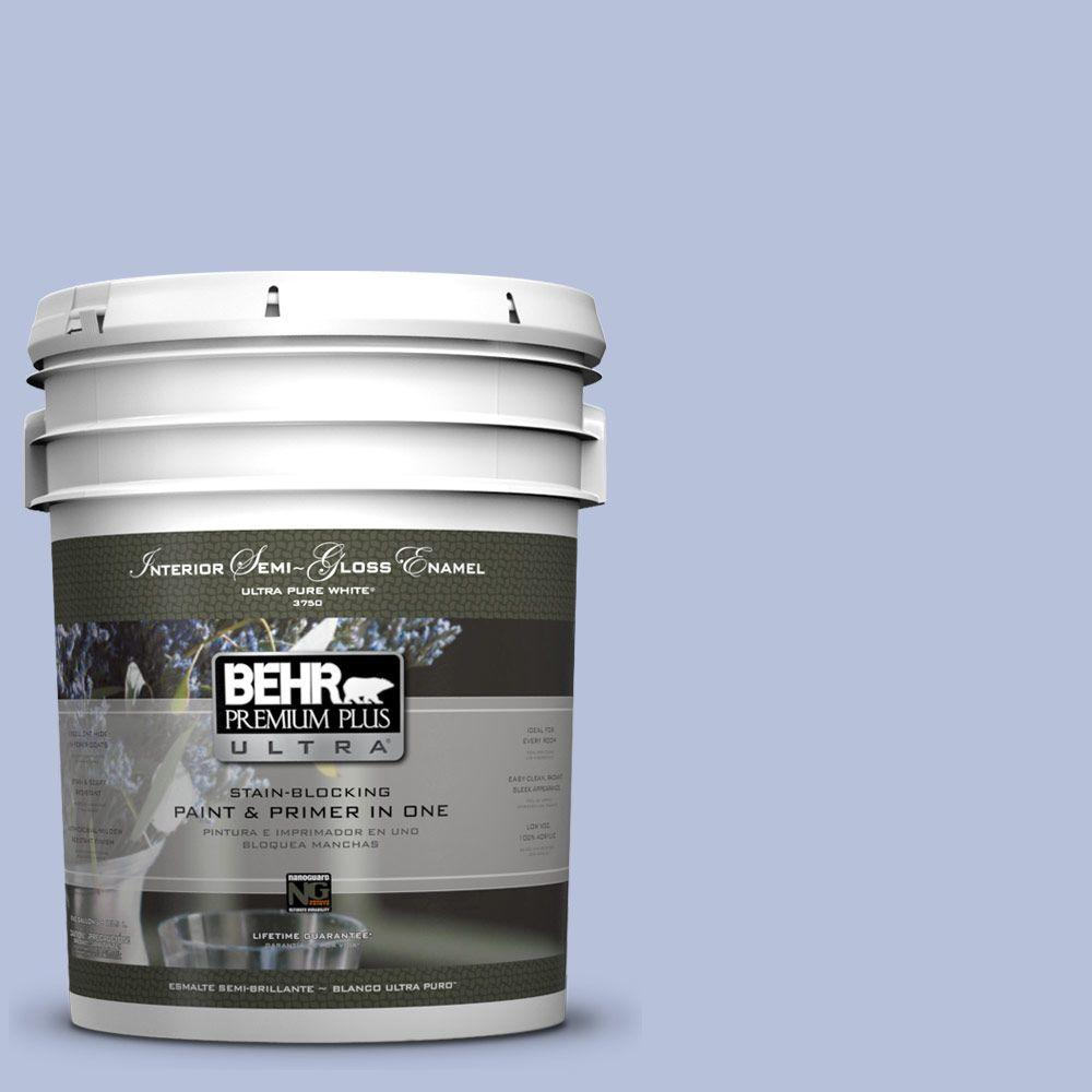 BEHR Premium Plus Ultra 5 gal. #610C-3 Virginia Blue Semi-Gloss Enamel Interior Paint