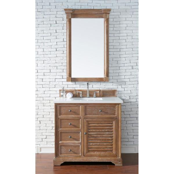 Savannah 36 in. Single Bath Vanity in Driftwood with Quartz Vanity Top in Classic White with White Basin