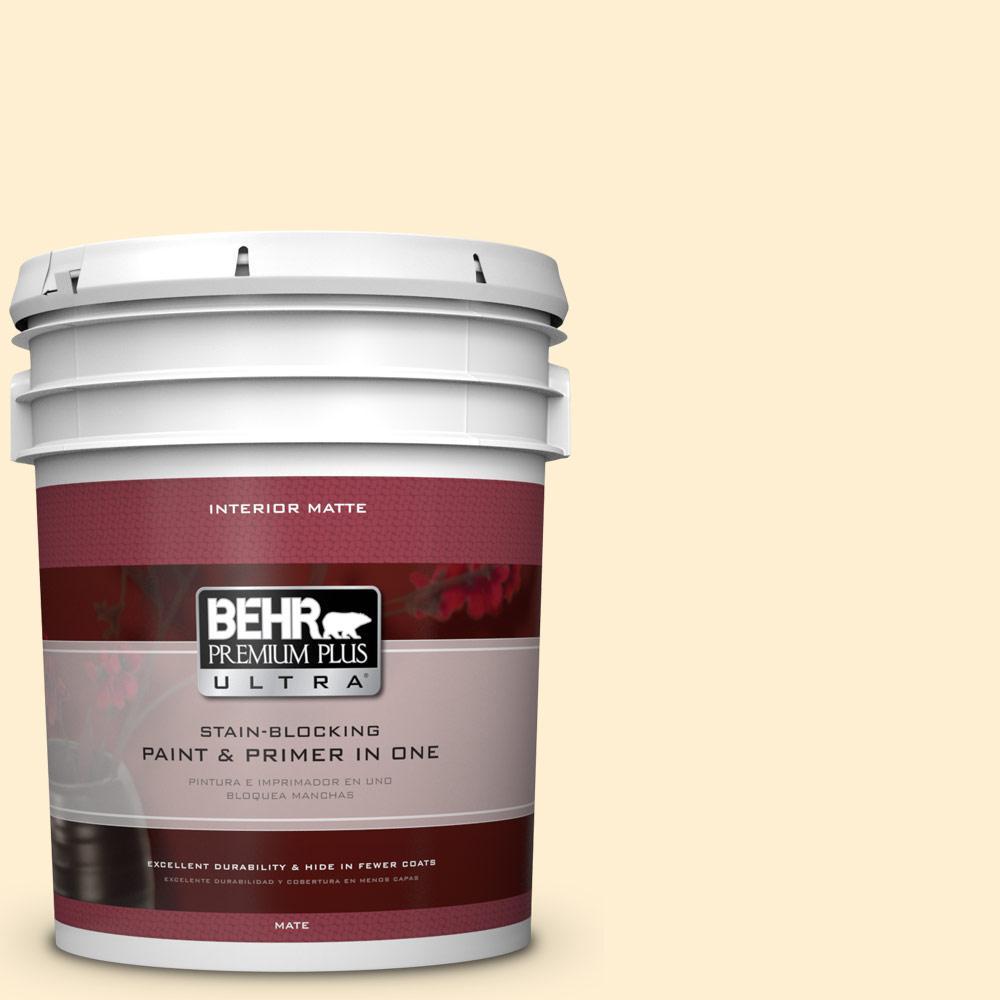 BEHR Premium Plus Ultra 5 gal. #330A-1 Bonnie Cream Flat/Matte Interior Paint