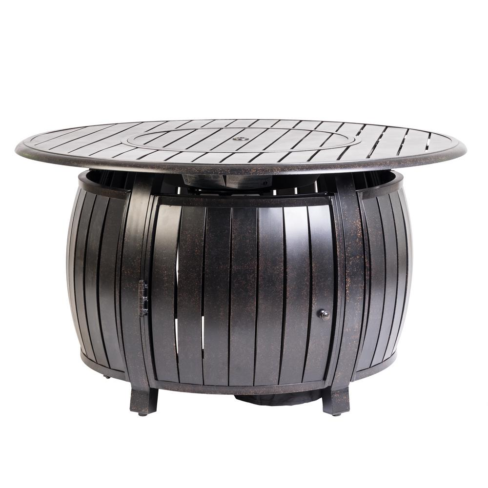 Fire Sense Grand Cooper 44 in. x 24 in. Round Aluminum Propane Fire Pit Table in Antique Bronze with Vinyl Cover