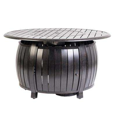 Grand Cooper 44 in. x 24 in. Round Aluminum Propane Fire Pit Table in Antique Bronze with Vinyl Cover