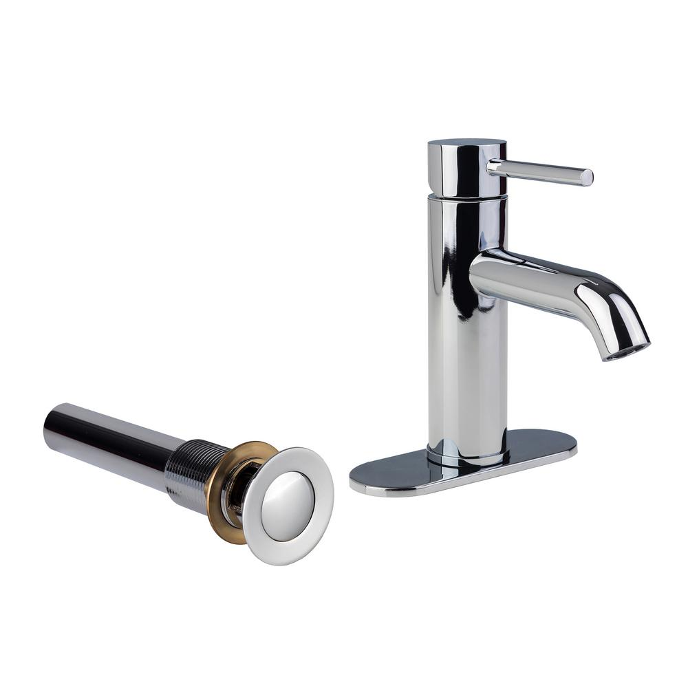 Contemporary 4 in. Centerset 1-Handle Bathroom Faucet with Metal Drain Assembly