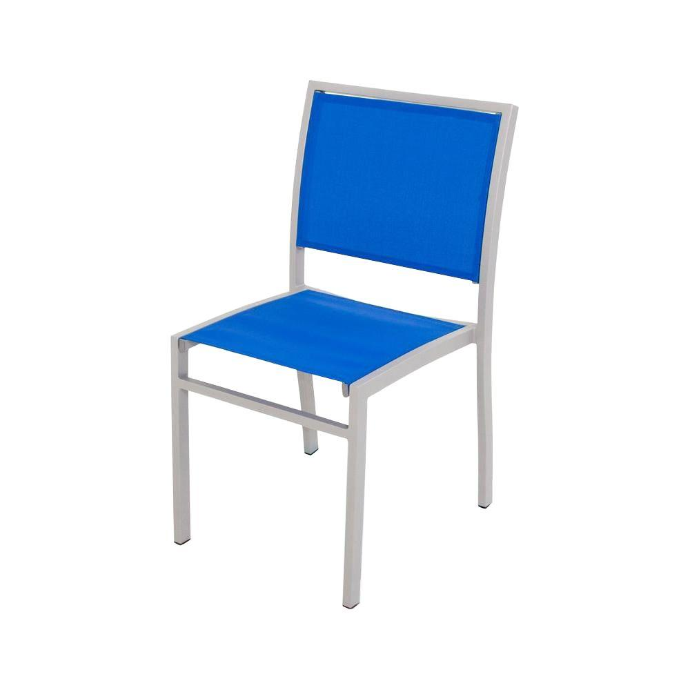 POLYWOOD Bayline Textured Silver/Royal Blue Sling Patio Dining Side Chair