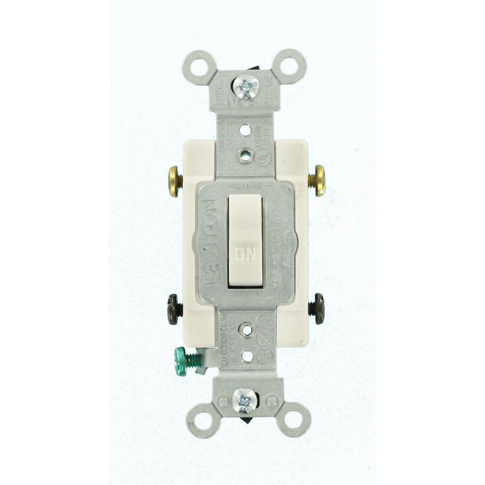 15 Amp Commercial Grade Double-Pole Toggle Switch, White