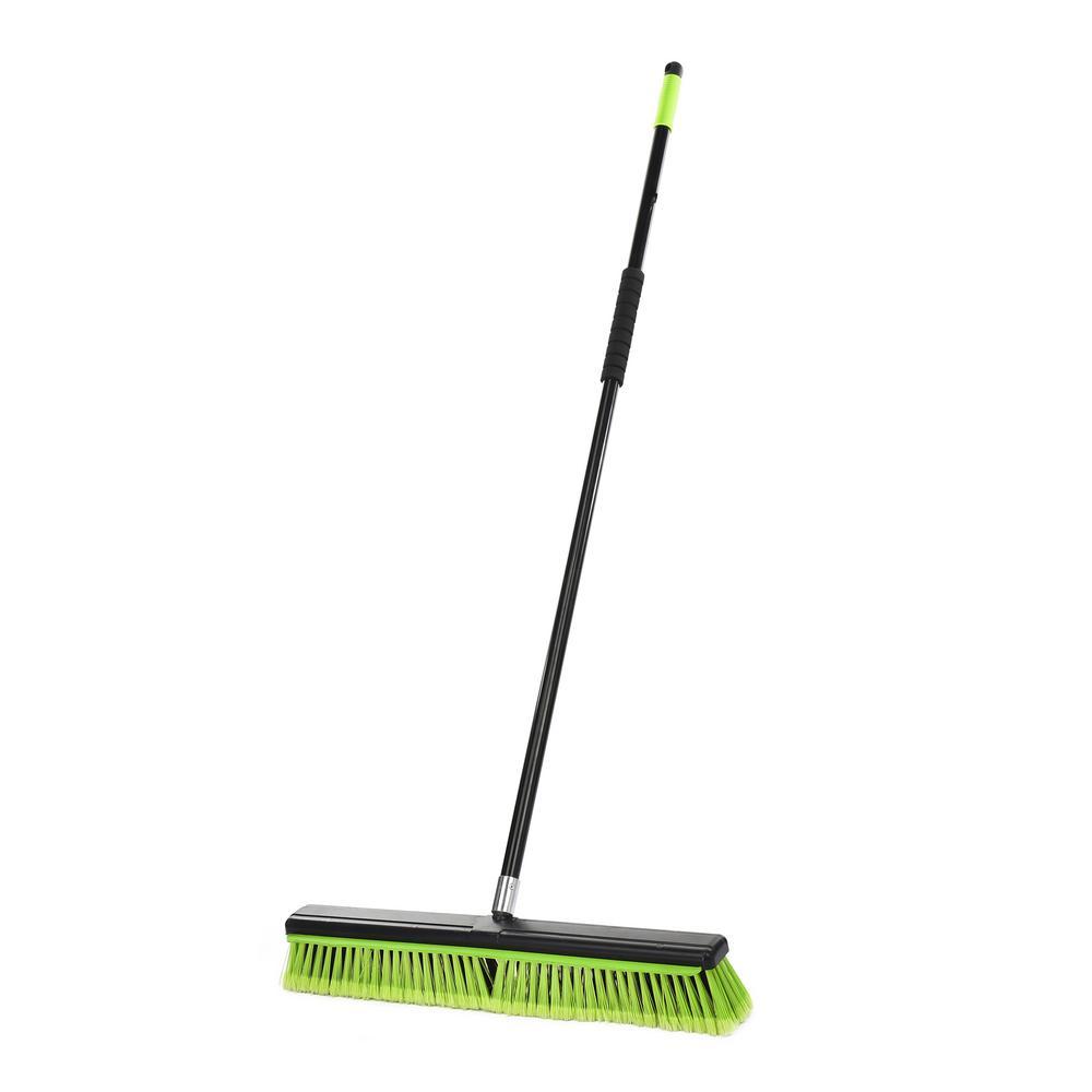 24 in. Green Indoor Multi-Surface 2-in-1 Squeegee Push Broom