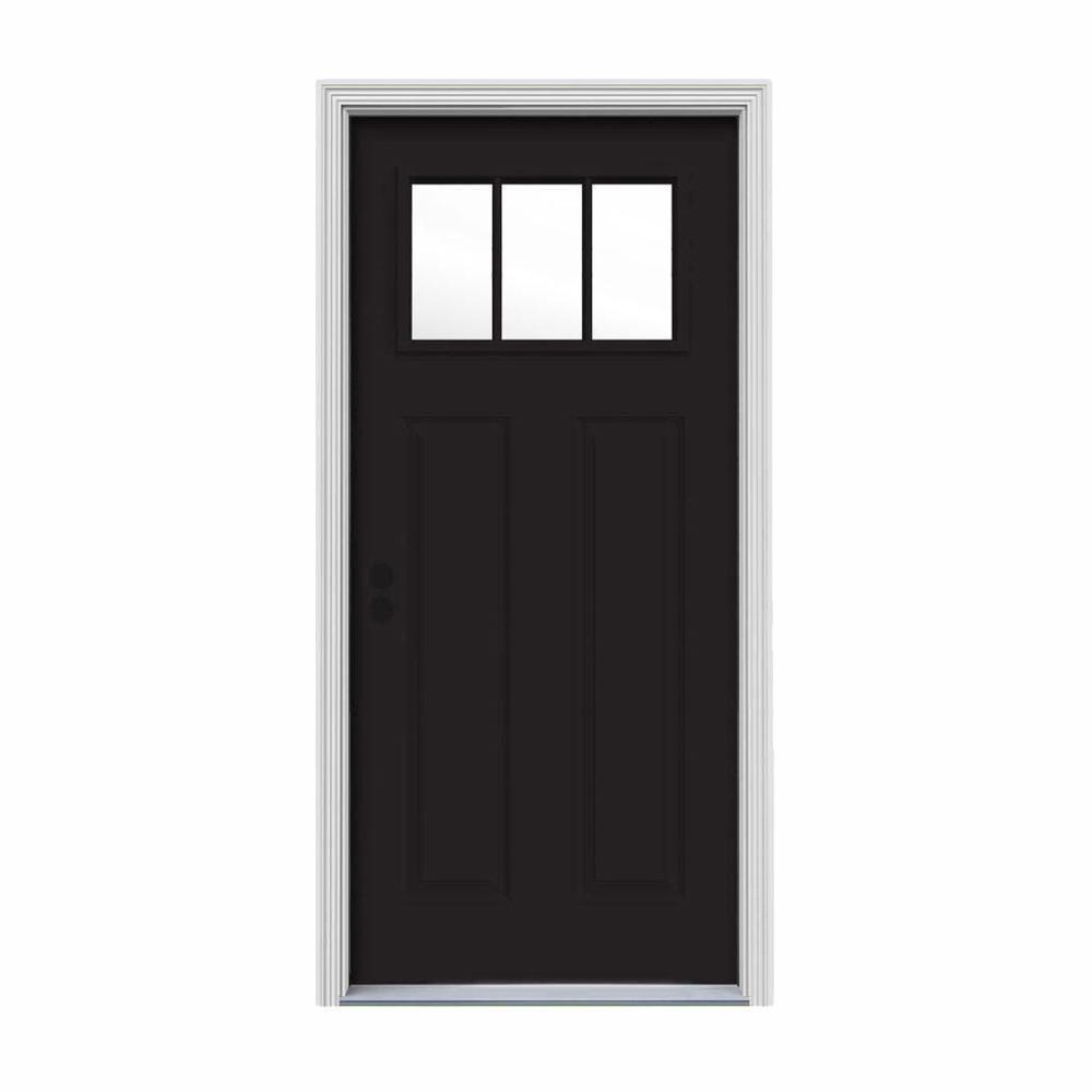 30 in. x 80 in. 3 Lite Craftsman Black w/ White Interior Steel Prehung Right-Hand Inswing Front Door w/Brickmould