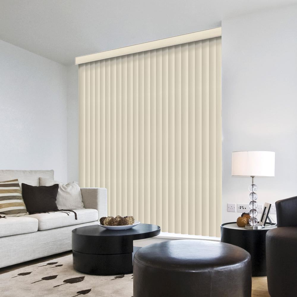 Hampton Bay 3.5 in. W x 66 in. L Suede White 3.5 in. Vertical Blind/Louver Set (9-pack)