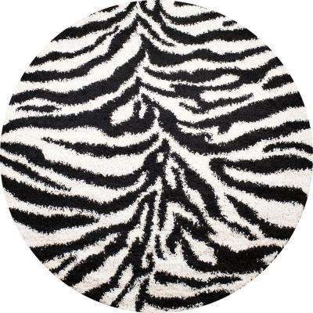 Shaggy Zebra Black 7 ft. Round Area Rug