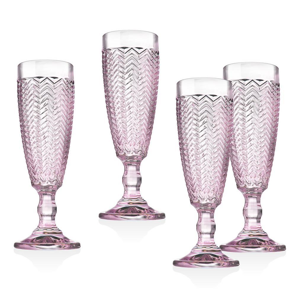 Twill 5 oz. Pink Crystal Flutes (Set of 4)