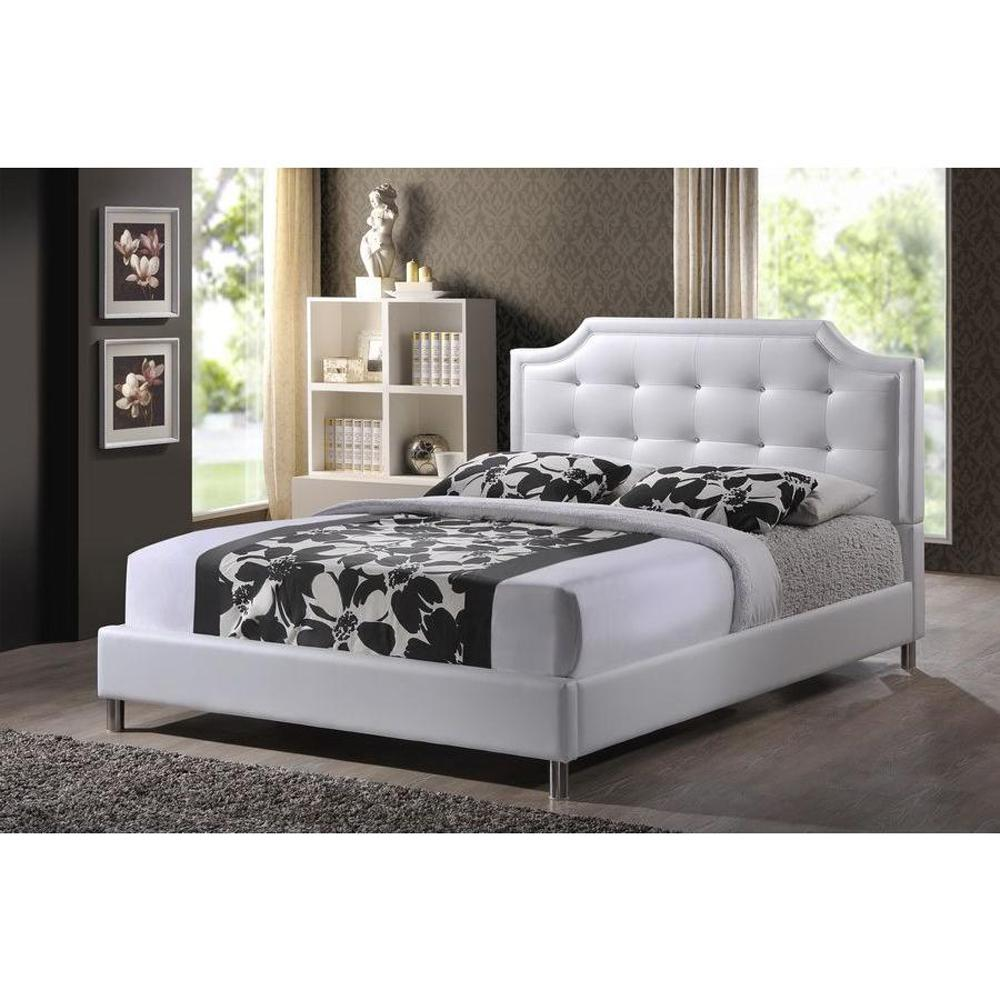 Baxton Studio Carlotta White Queen Upholstered Bed-28862-5190-HD ...