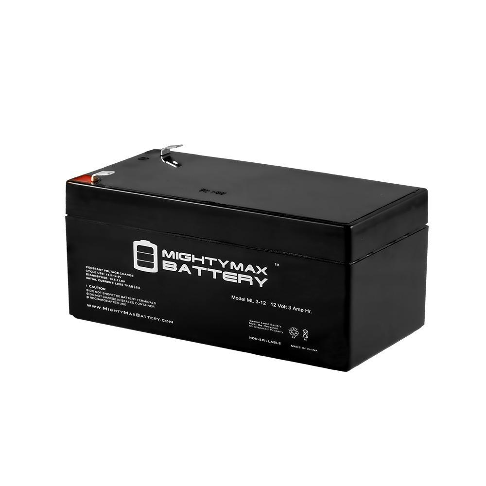 MIGHTYMAXBATTERY MIGHTY MAX BATTERY 12-Volt 3 Ah Rechargeable F1 Terminal Sealed Lead Acid (SLA) Battery