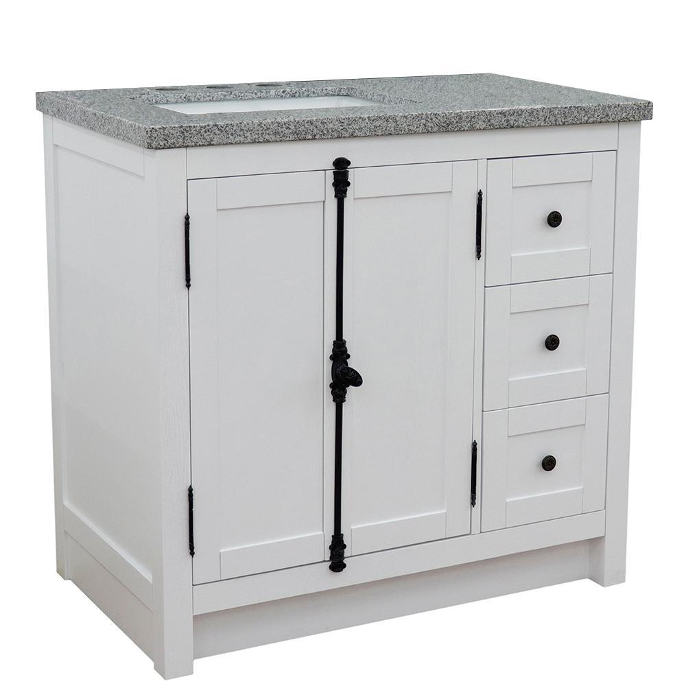 37 in. W x 22 in. D x 36 in. H Bath Vanity in Glacier Ash with Gray Granite Vanity Top and Left Side Rectangular Sink