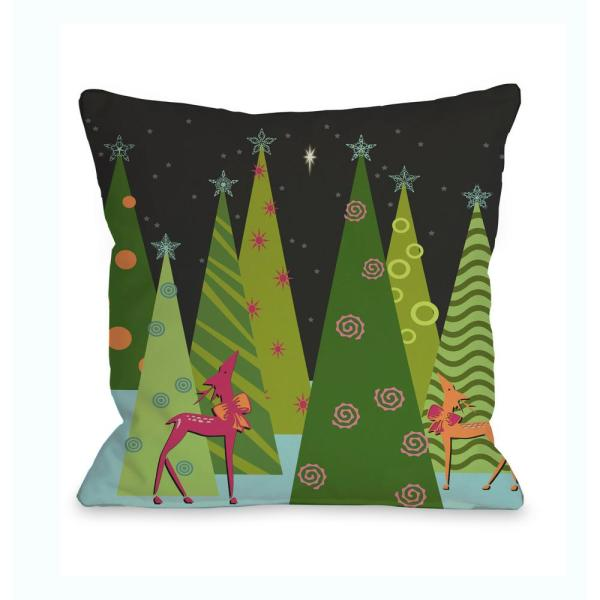Christmas Tree Parade 16 in. x 16 in. Decorative Pillow 71719PL16