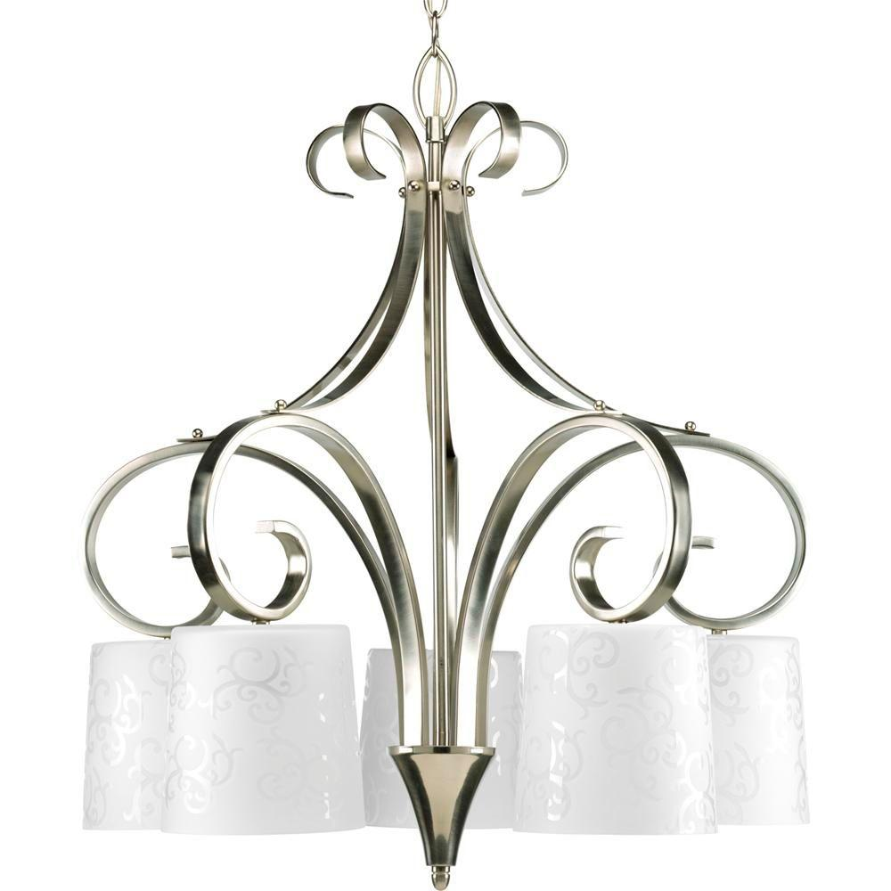 Progress Lighting Nicollette Collection Brushed Nickel 5-light Chandelier-DISCONTINUED