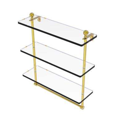 Mambo Collection 16 in. Triple Tiered Glass Shelf with Integrated Towel Bar in Unlacquered Brass