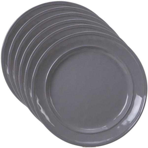 Orbit 6-Piece Traditional Grey Ceramic 9 in. Salad Plate Set (Service for 6)