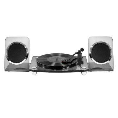Acrylic Bluetooth 40-Watt Record Player with 2-Speed Turntable and Rechargeable Speakers in Black
