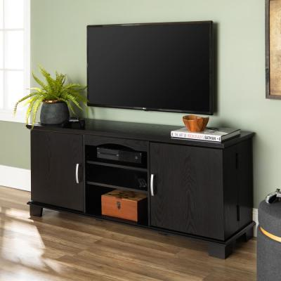 Jamestown 57 in. Black Composite TV Stand 65 in. with Doors