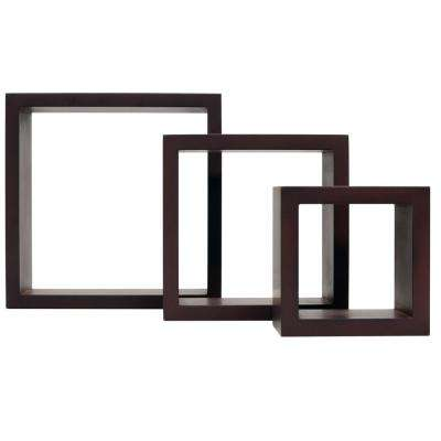 nexxt Cubbi 10 in. MDF Wall Shelf in Java (3-Piece)