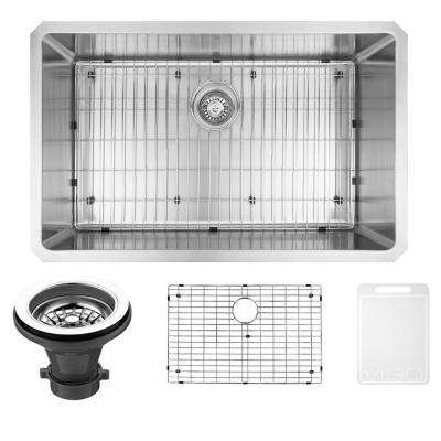 Mercer Undermount Stainless Steel 30 in. 0-Hole Single Bowl Kitchen Sink with 1 Grid, 1 Strainer in Stainless Steel