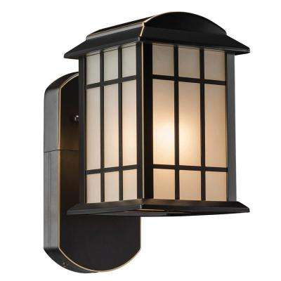 Craftsman Smart Security Companion Oil Rubbed Bronze Motion Activated Metal and Glass Outdoor Wall Mount Lantern