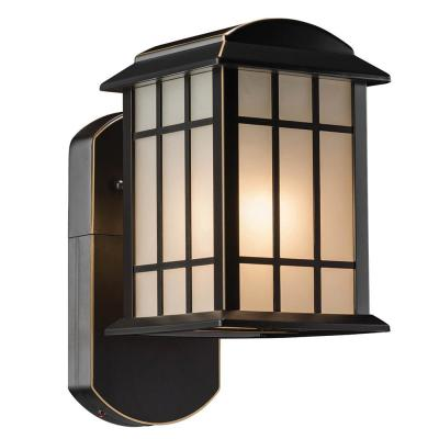 Craftsman Smart Security Companion Oil Rubbed Bronze Metal and Glass Outdoor Wall Lantern Sconce