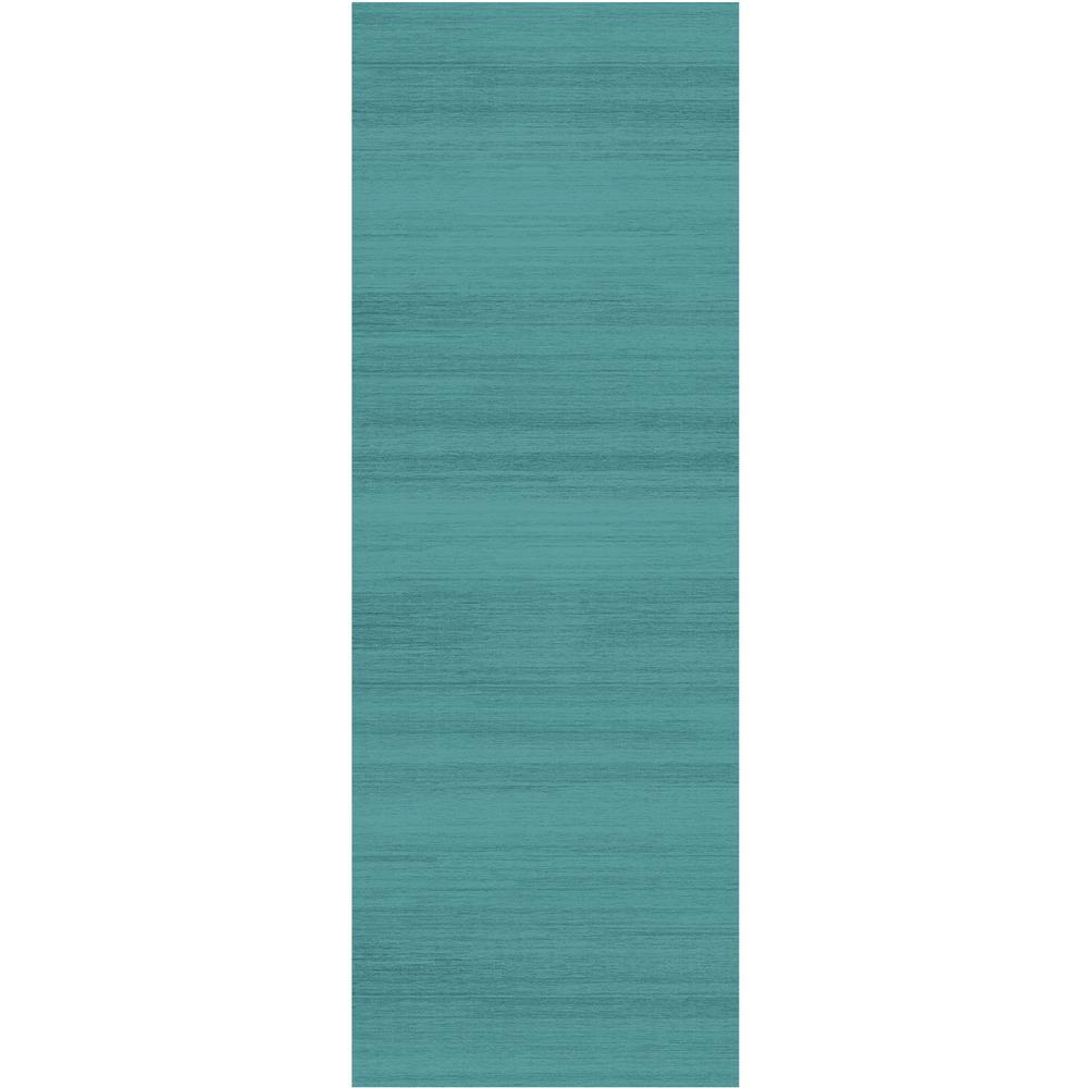 Washable Solid Textured Ocean Blue 3 ft. x 7 ft. Runner Rug
