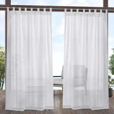 Miami White Sheer Indoor/Outdoor Tab Top Curtain - 54 in. W x 108 in. L