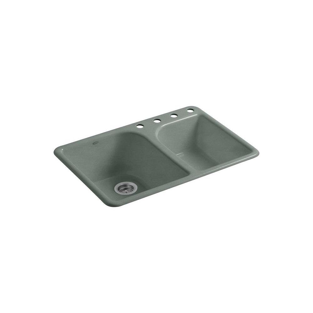 KOHLER Executive Chef Self-Rimming Cast Iron 33x22x10.625 4-Hole Kitchen Sink in Basalt-DISCONTINUED