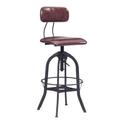Gering Adjustable Height Antique Black and Burgundy Bar Stool