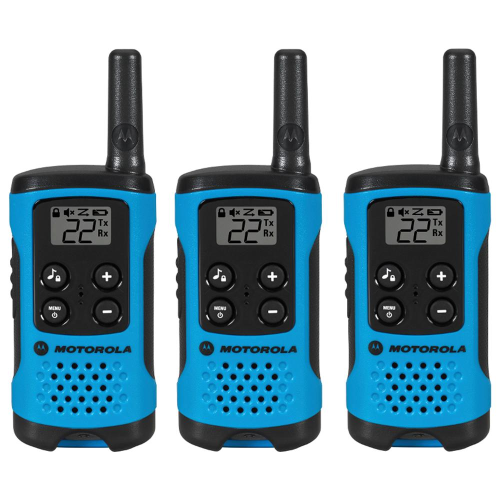 Motorola Talkabout T100TP Alkaline 2-Way Radio, Neon Blue (3-Pack)