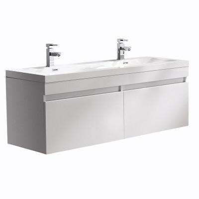 Largo 57 in. Double Vanity in White with Acrylic Vanity Top in White with White Basin