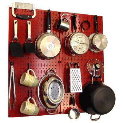 Kitchen Pegboard 32 in. x 32 in. Metal Peg Board Pantry Organizer Kitchen Pot Rack with Red Pegboard and Blue Peg Hooks