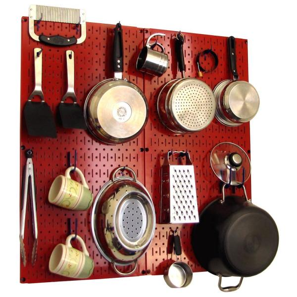 Wall Control Kitchen Pegboard 32 in. x 32 in. Metal Peg Board Pantry Organizer Kitchen Pot Rack with Red Pegboard and Blue Peg Hooks