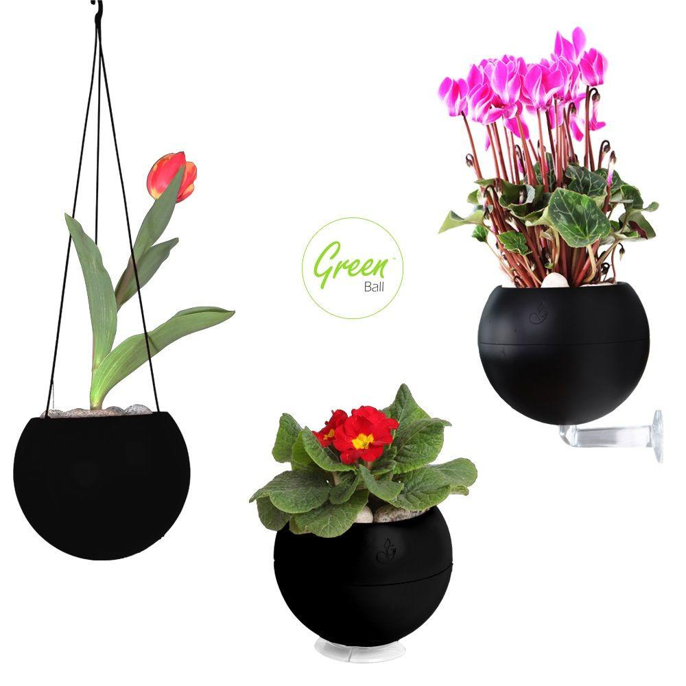 Greenbo 6.7 in. dia. Black Plastic Greenball 3 in 1 Smart Planter for Wall, Table and Ceiling