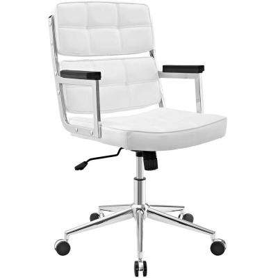 Portray White High-Back Upholstered Vinyl Office Chair