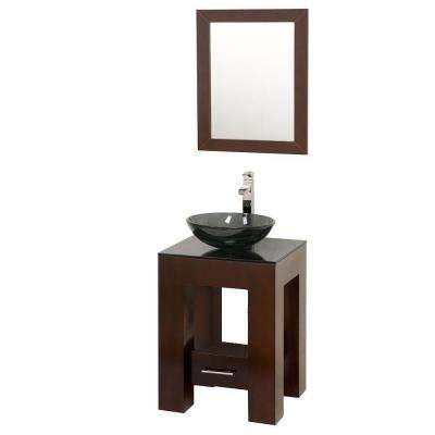 Amanda 22 in. Vanity in Espresso with Glass Vanity Top in Smoke and Glass Sink